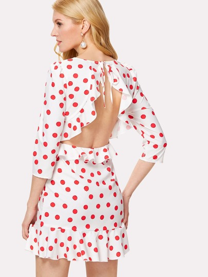 Open Back Ruffle Trim Polka Dot Dress