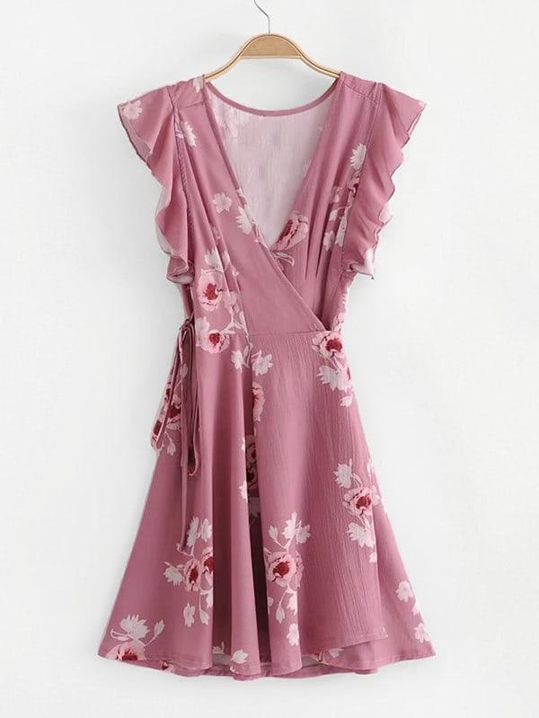 Surplice Neckline Ruffle Trim Florals Dress