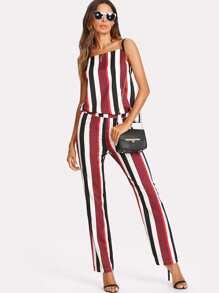 Striped Cami Top And Zip Up Pants Set