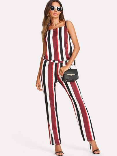 Striped Cami Top And Zip Up Pants Set
