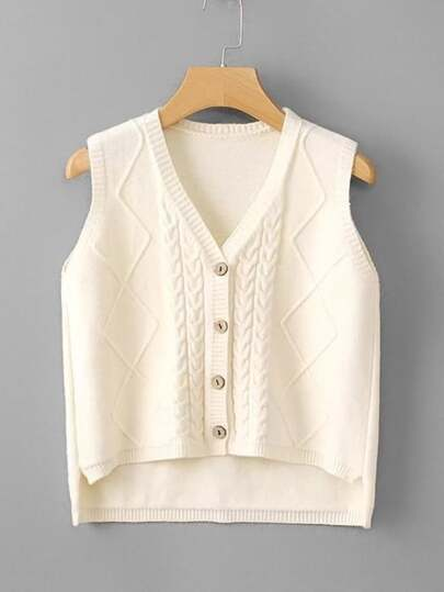 High Low Cable Knit Vest