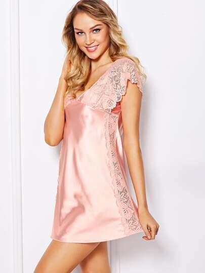 Contrast Lace Satin Sleep Dress