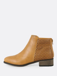 Perforated Shaft Zip Up Bootie NATURAL