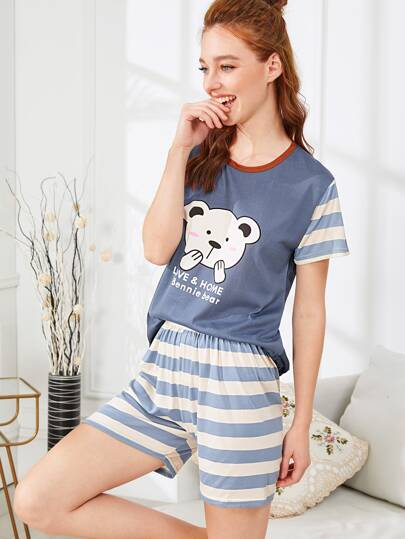 Contrast Striped Bear Print Pajama Set