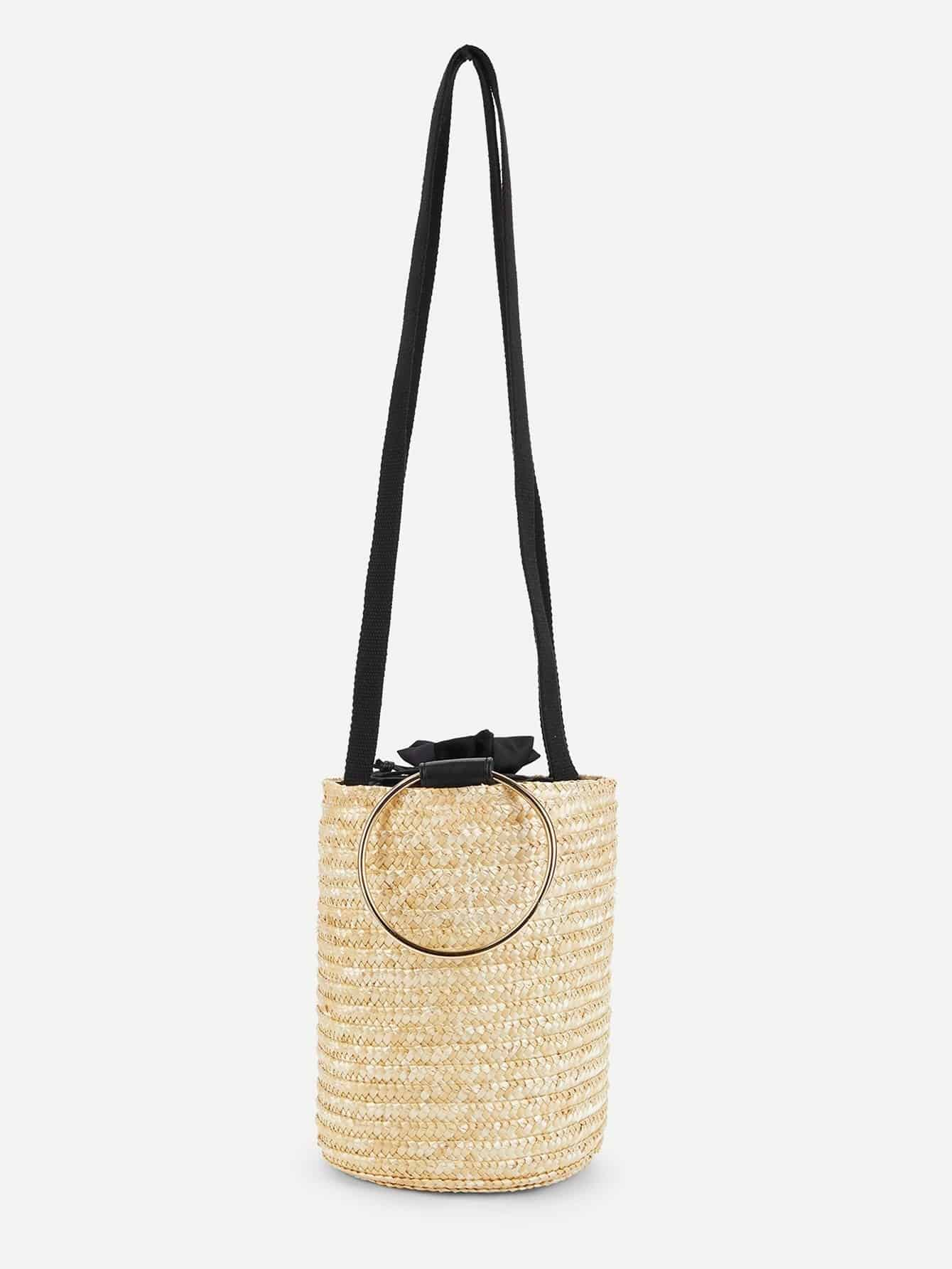 Straw Bucket Bag With Ring Handle flounce trim straw bucket bag