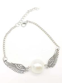 Wings & Faux Pearl Detail Chain Bracelet