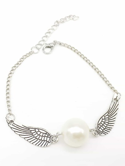 Wings & Faux Pearl Detail Chain Bracelet