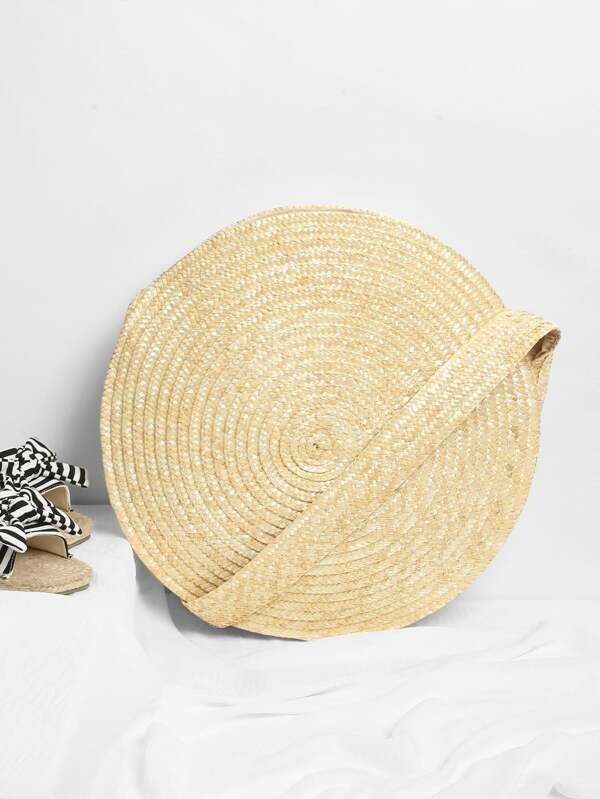 Round Straw Crossbody Bag by Sheinside