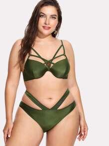 Strappy Front Solid Bikini Set