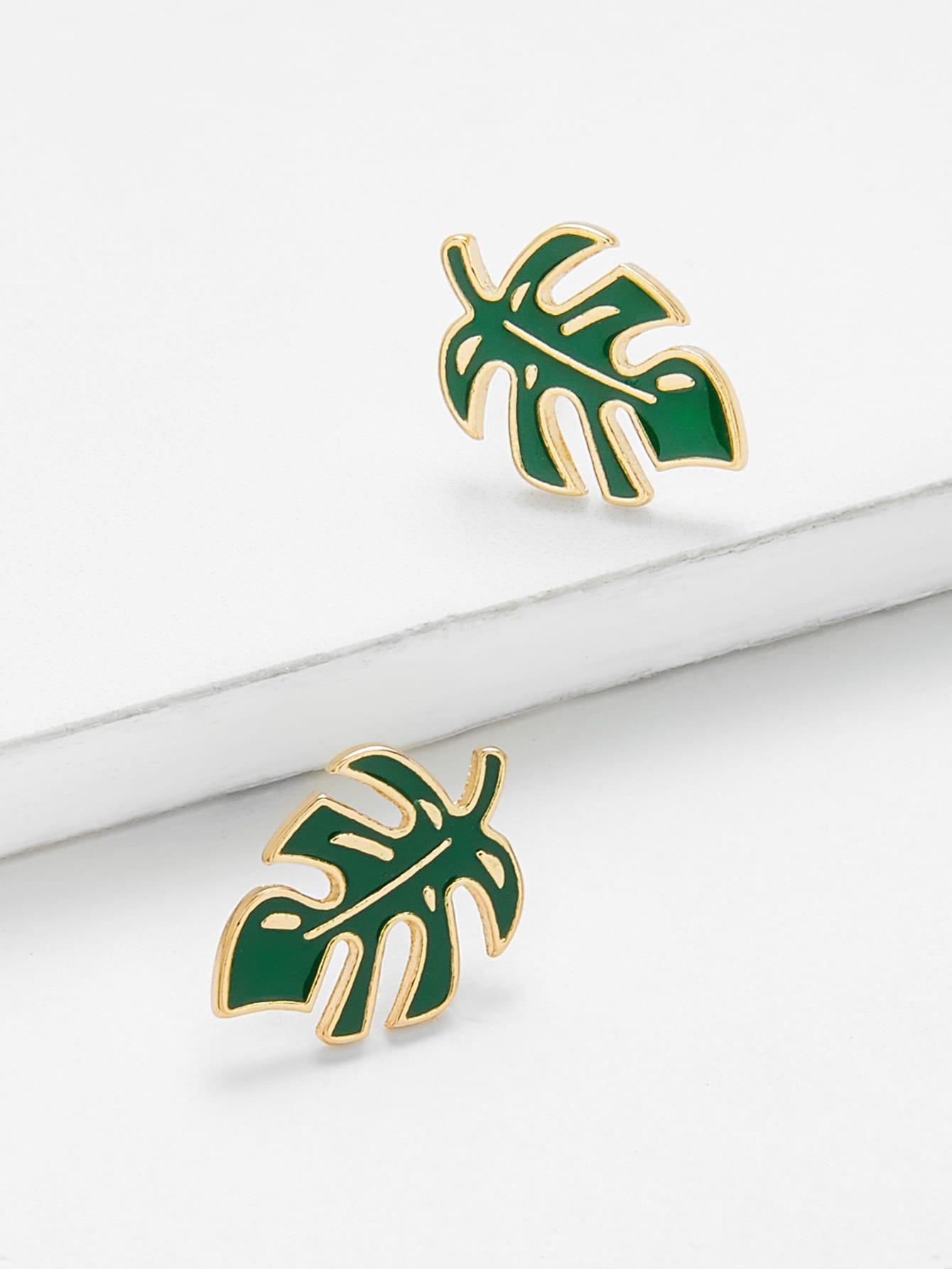 Leaf Design Stud Earrings floral leaf rhinestone stud earrings