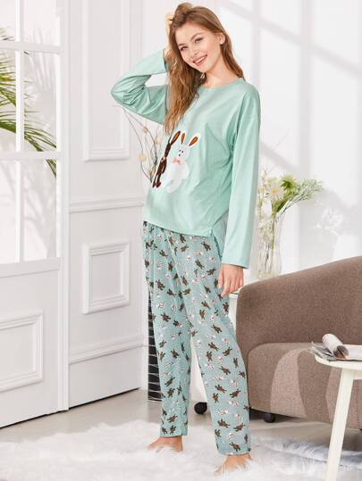 Rabbit Embroidered Tee & Pants PJ Set