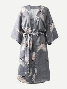 Cranes Print Self Tie Kimono