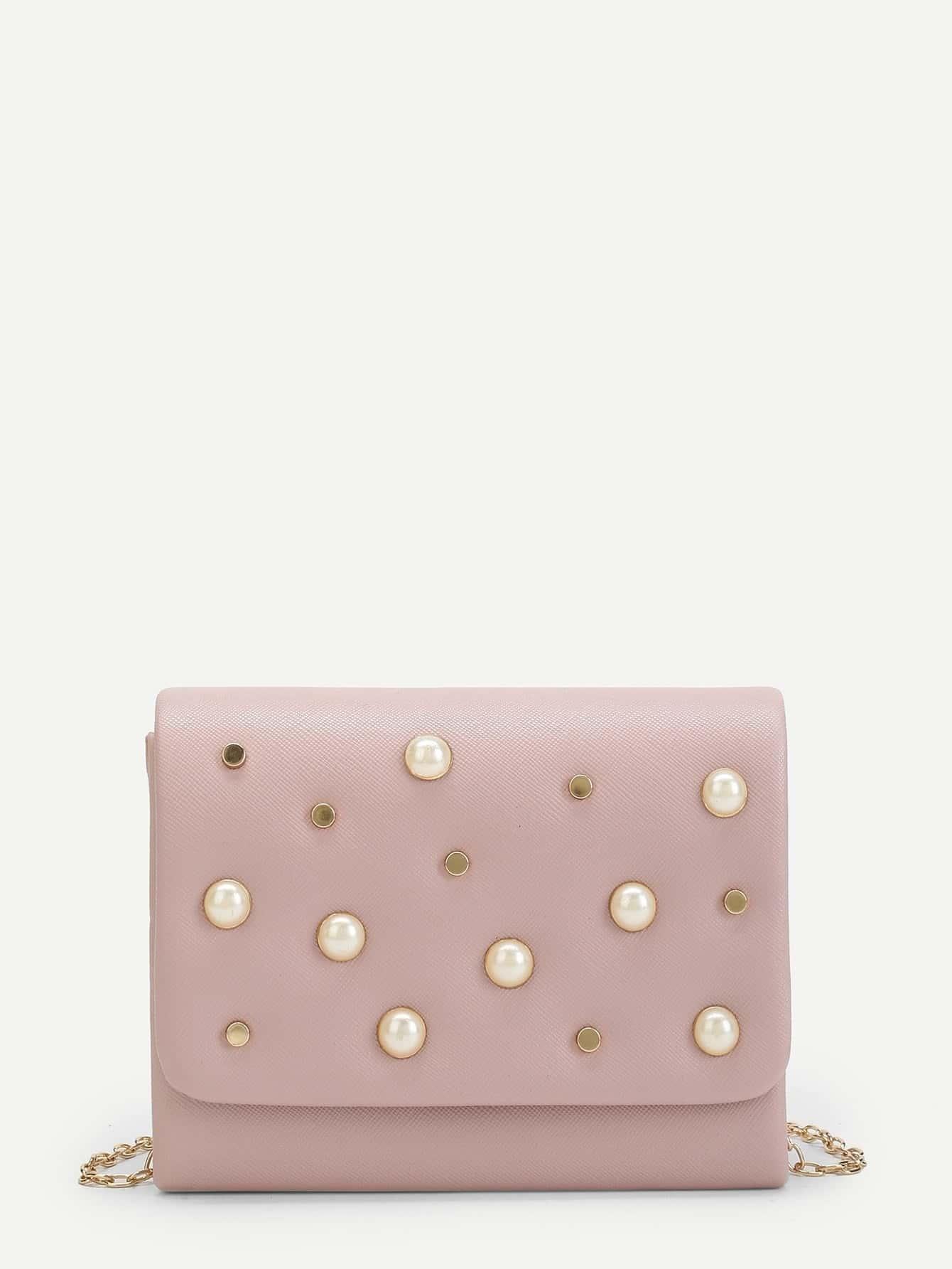 Faux Pearl Decor Clutch Bag