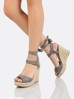Faux Suede Ankle Wrap Espadrille Platform Wedge Sandal GREY