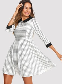 Contrast Neck And Cuff Grid Dress