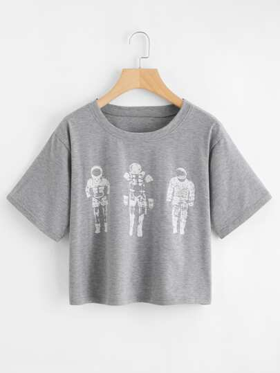 T-Shirt mit Astronautmuster