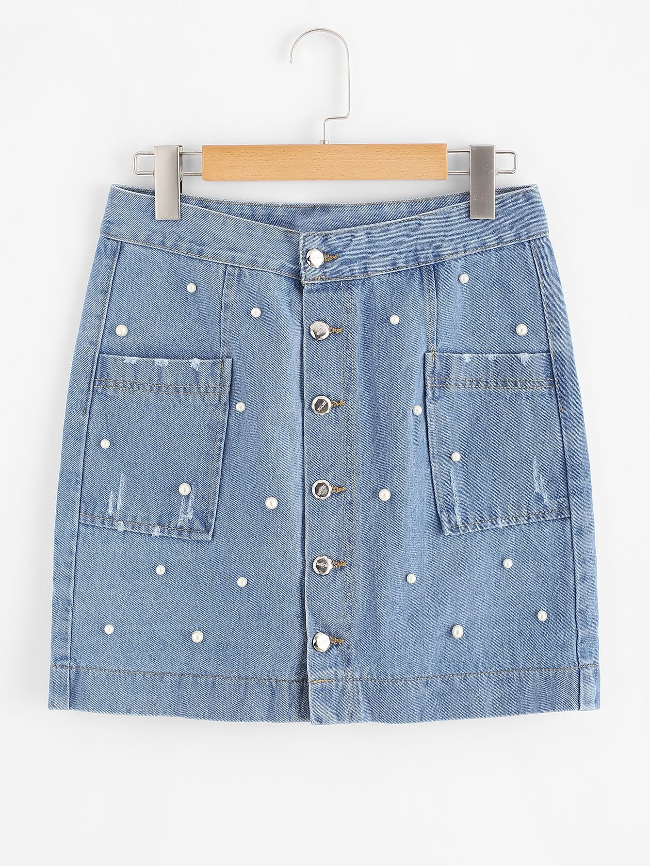 Faux Pearl Beading Button Front Denim Skirt