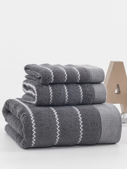 Zigzag Cotton Bath Towel Set 3pcs