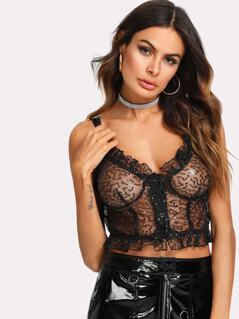 Button Front Glitter Mesh Cami Top