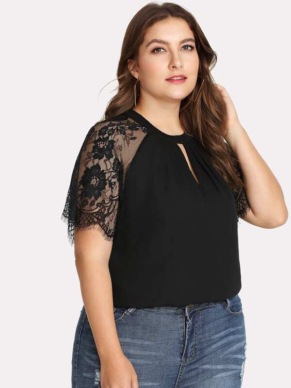Keyhole Pleated Neck Lace Panel Top by Shein