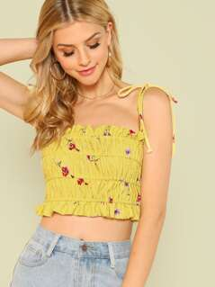 Tie Strap Floral Print Smocked Crop Top YELLOW