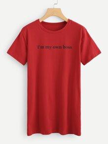 Slogan Print Tee Dress