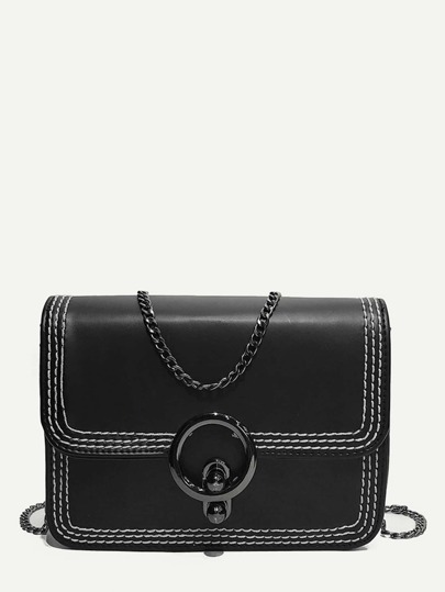 Ring Detail Flap Chain Crossbody Bag