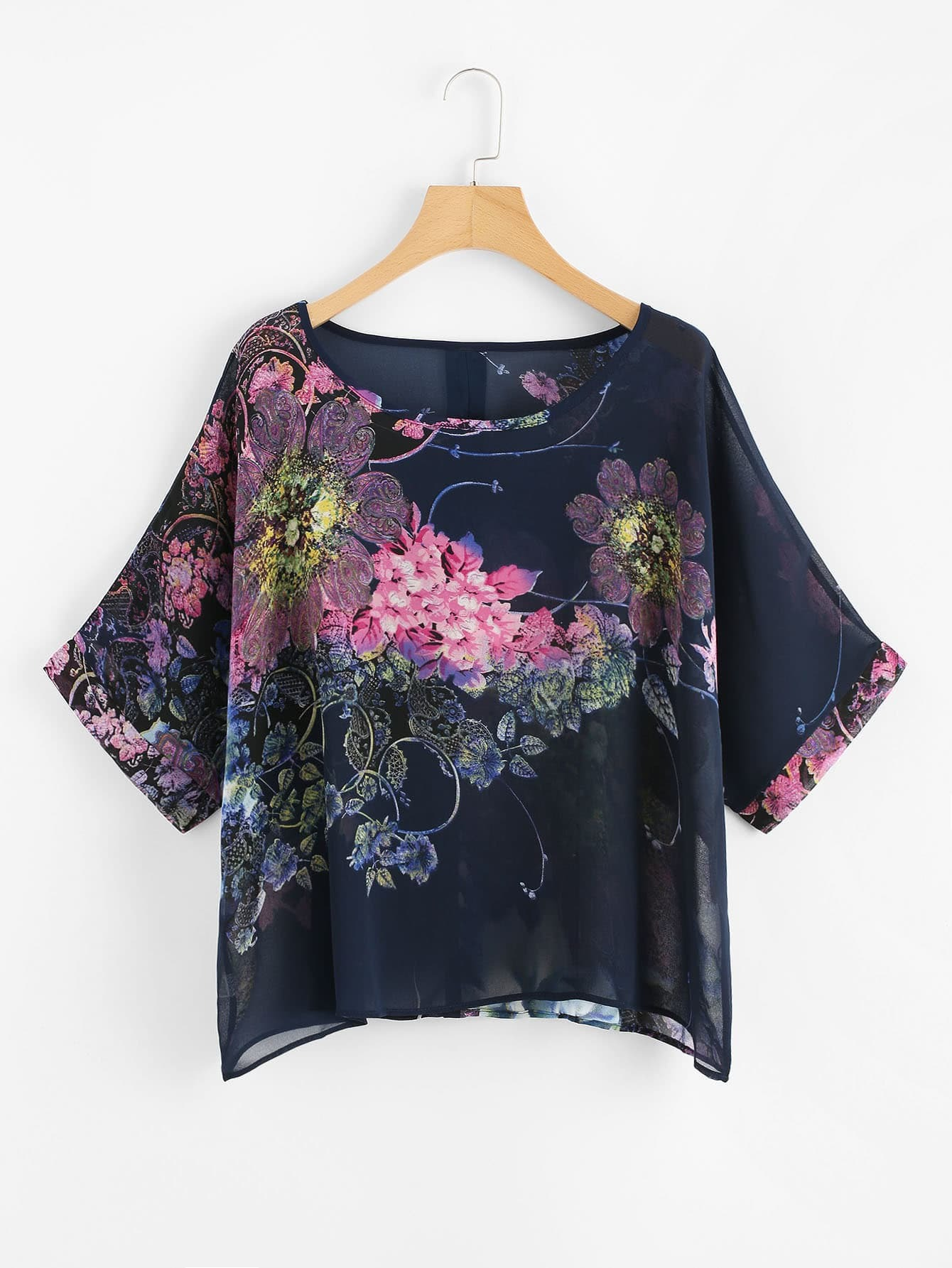 все цены на Floral Print Button Back Chiffon Blouse
