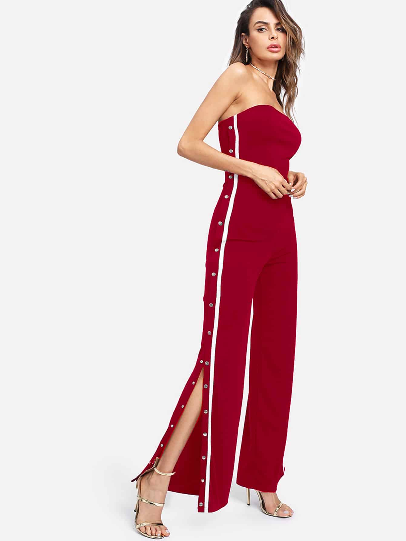 Bardot Tape Detail Snap-Button Side Wide Leg Jumpsuit embroidered tape detail beading trim bardot top