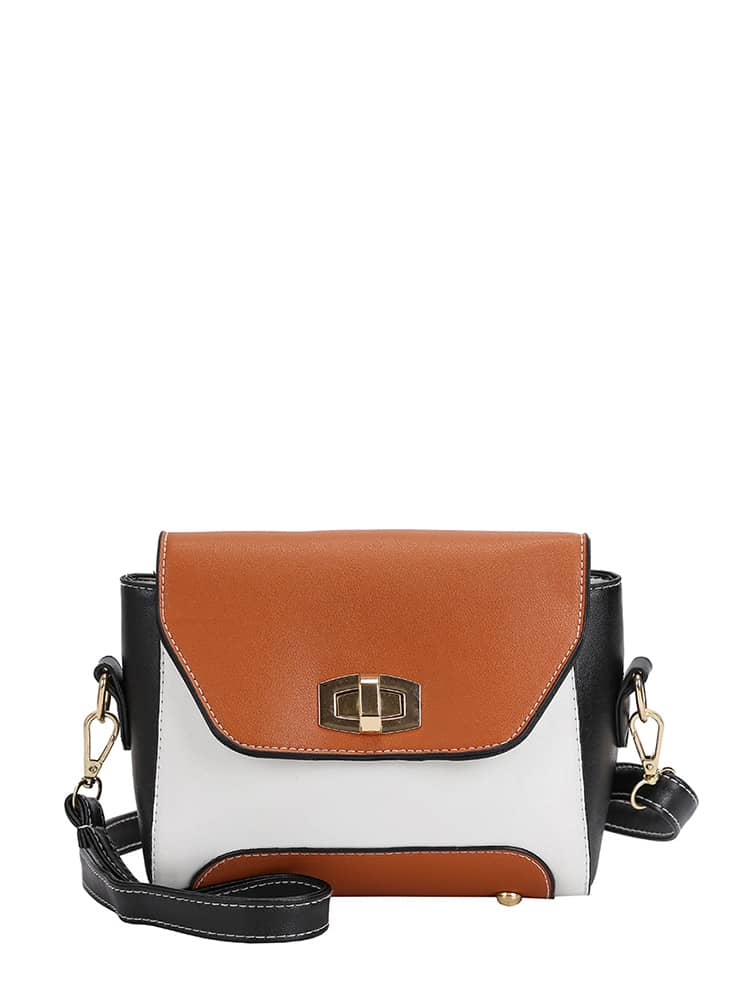 Colorblock Twist Lock Crossbody Bag