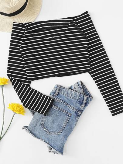 Off Shoulder Striped Ribbed Tee