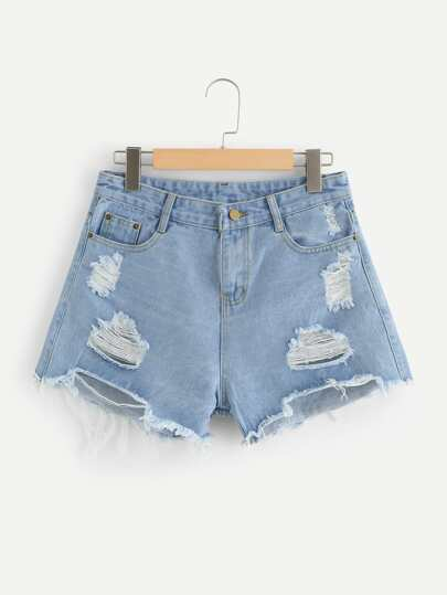 Shorts in denim strappati orlo grezzo