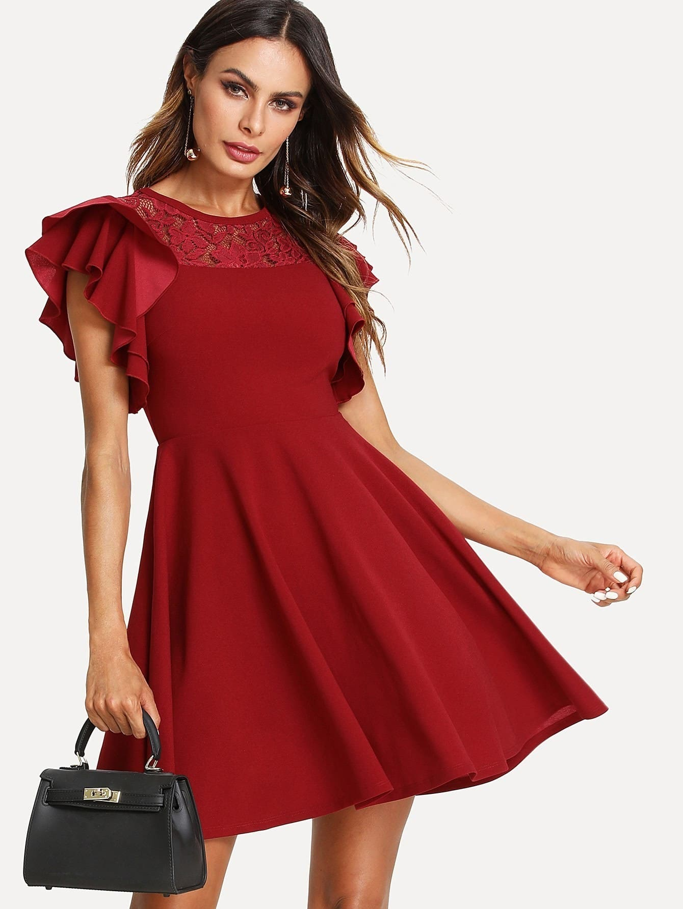 Lace Insert Flutter Sleeve Fit & Flare Dress lace insert fit