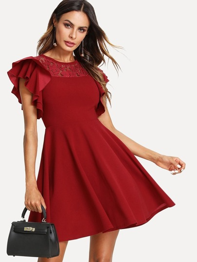 Lace Insert Flutter Sleeve Fit & Flare Dress