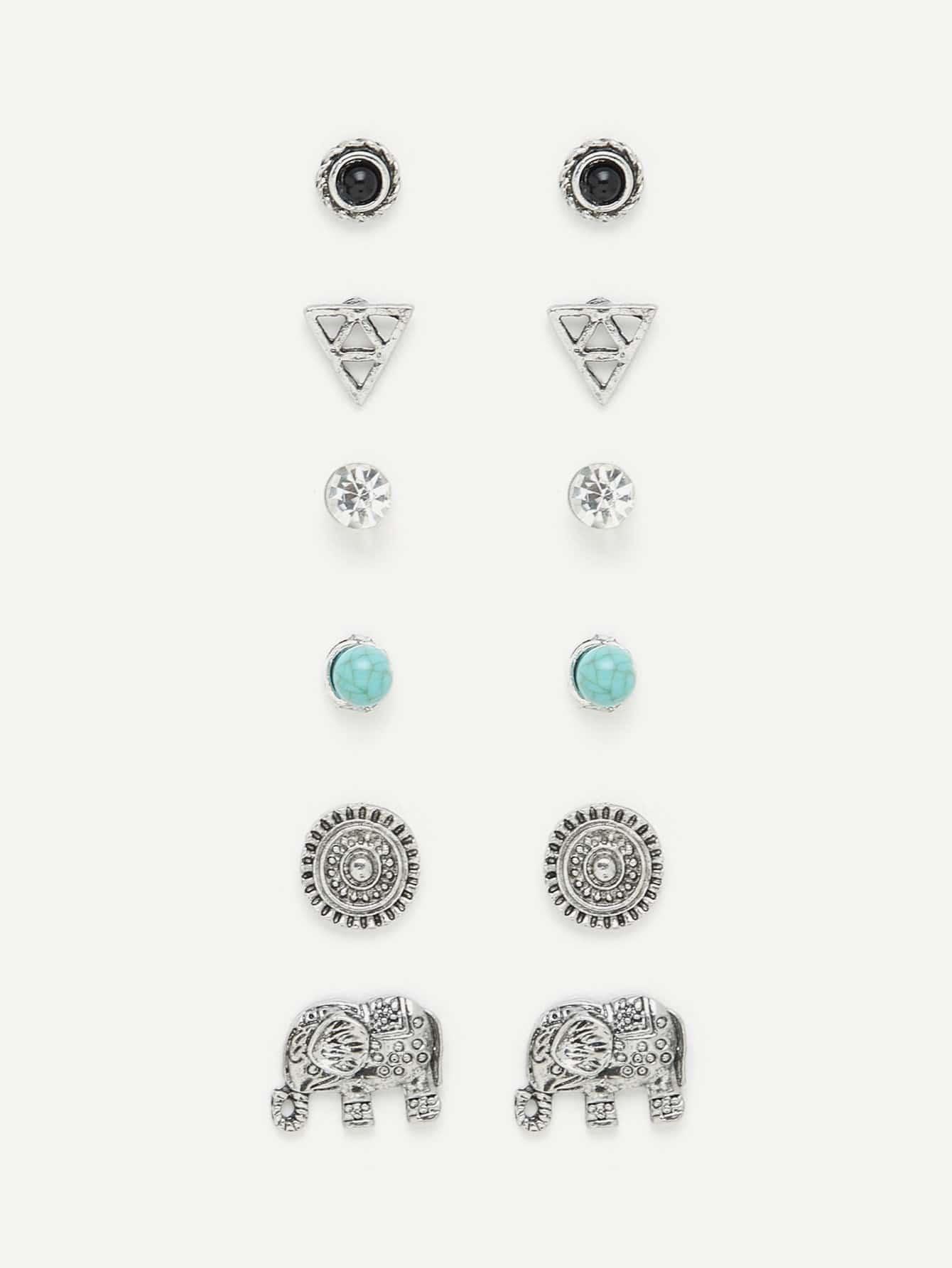 Elephant & Round Design Stud Earring Set