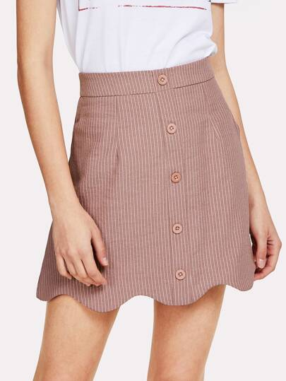 Pinstriped Wave Hem Skirt