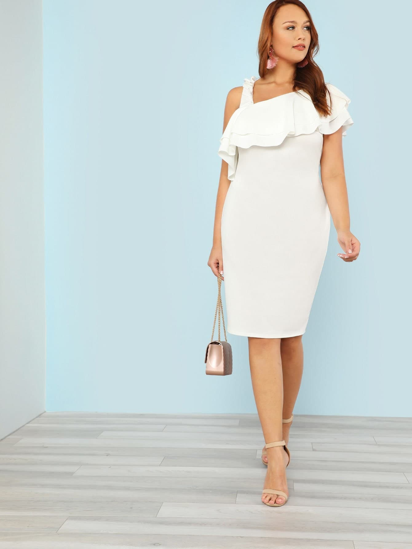 Plus One Shoulder Layered Flounce Hem Dress with Ruffle Strap ruffle hem grid dress with tied strap