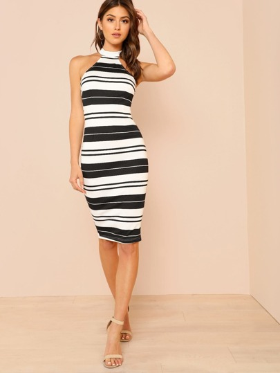 High Neck Striped Form Fitting Dress BLACK WHITE