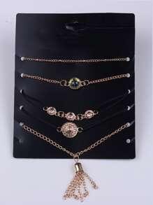 Gold Plated Multi Shape Bracelet Set