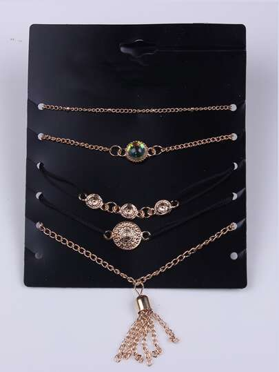 Gold Plated Multi Shape Bracelet Set