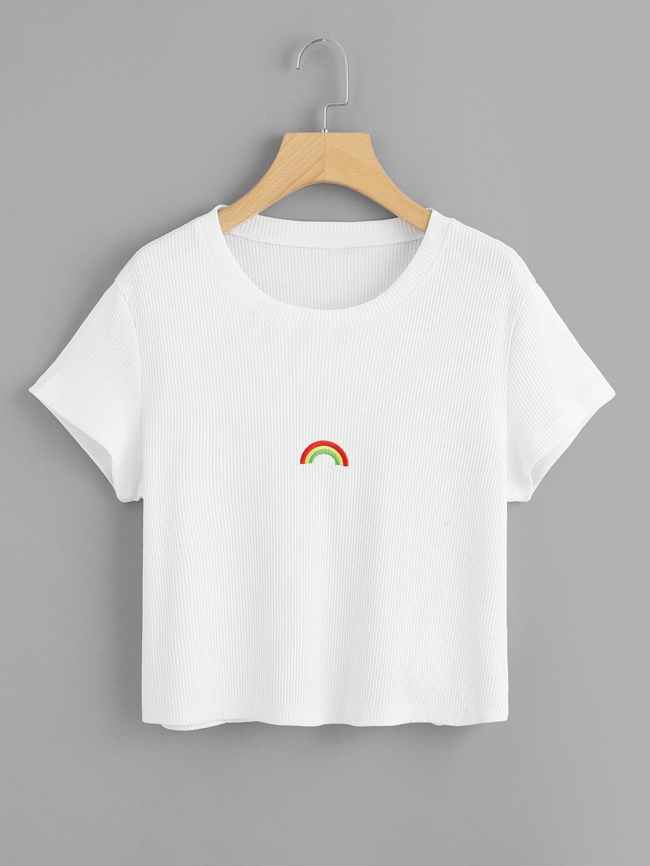Rainbow Embroidered Rib Knit Tee rib knit tights