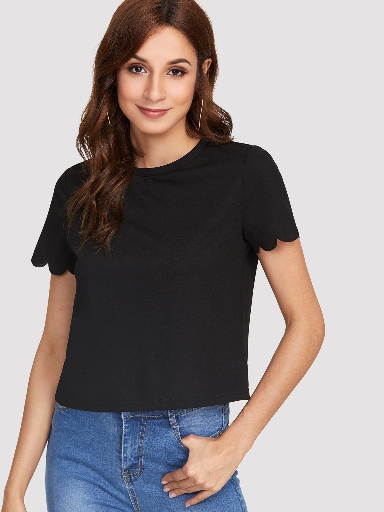 Купить Модная футболка с фестонами, Gabi B, SheIn