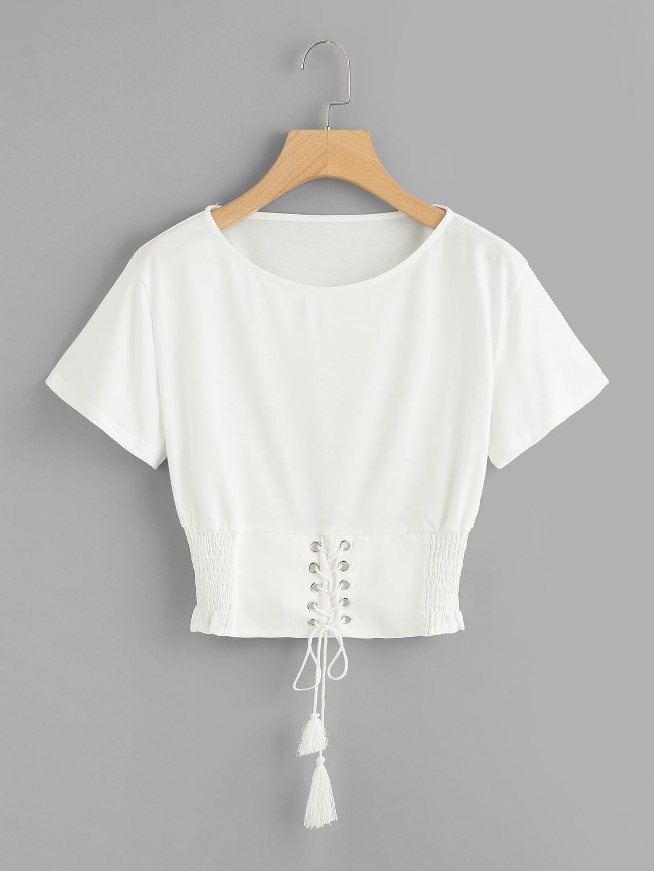 Corset Lace Up Detail T-shirt camouflage lace up t shirt