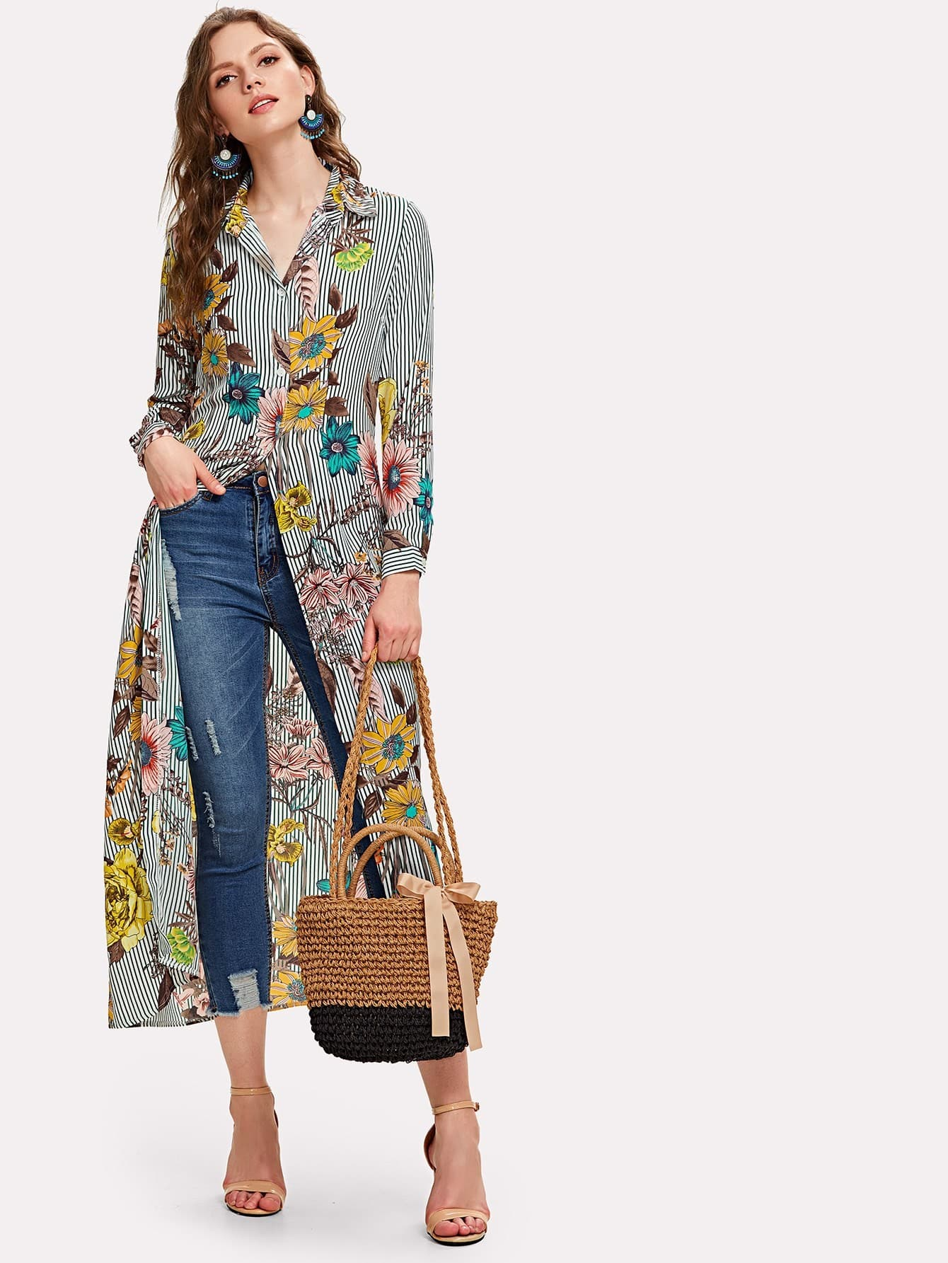 Купить Вертикальная полосатая флора Янтарная рубашка, Muffy, SheIn