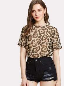 Leopard Print Curved Hem Blouse
