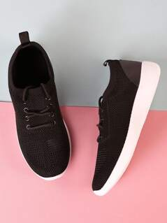 Knit Design Lace Up Sneakers BLACK