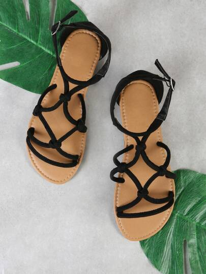 Faux Suede Strappy Flat Sandal BLACK