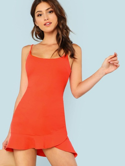Spaghetti Strap Dress with Ruffle Hem ORANGE
