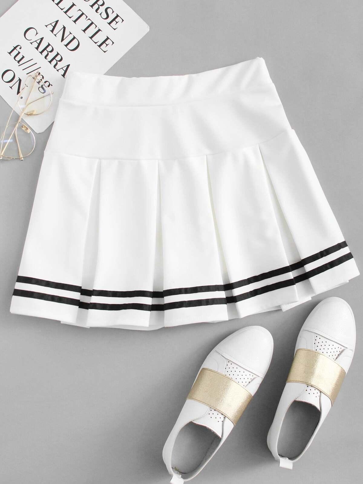 大學條紋 打褶裙子