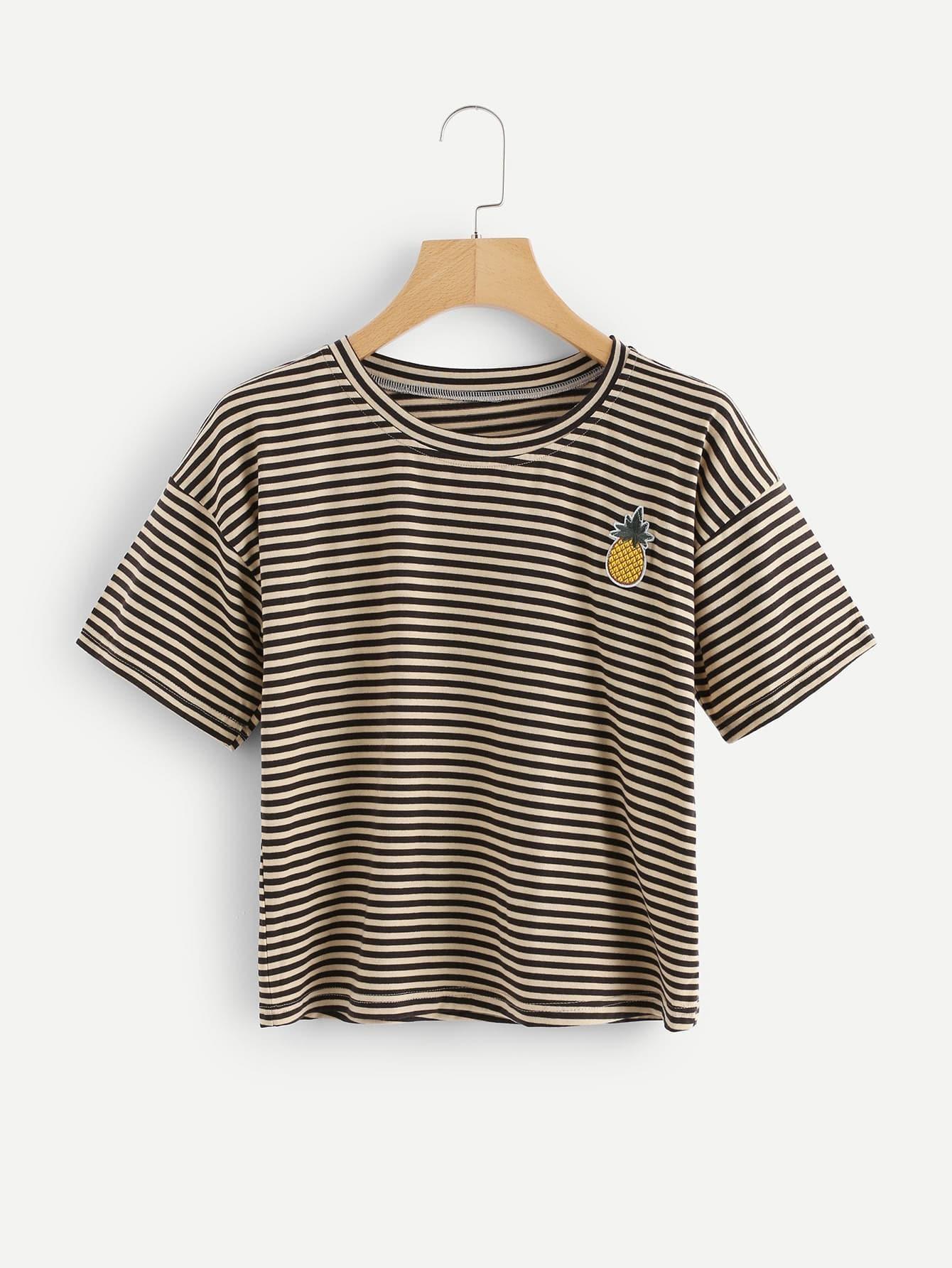 T-Shirt mit Ananasstickereien und Streifen